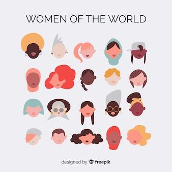 Fondo de grupo interracial de mujeres