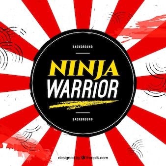 Fondo de guerrero ninja con bandera japonesa