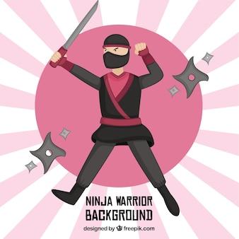 Fondo de guerrero ninja con diseño plano