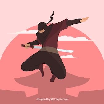 Fondo con guerrero ninja tradicional de diseño plano
