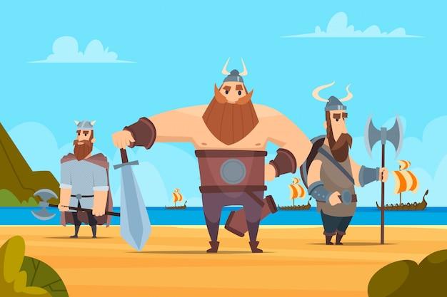 Fondo de guerreros vikingos. personajes militares auténticos medievales pueblo noruego vector paisaje de dibujos animados