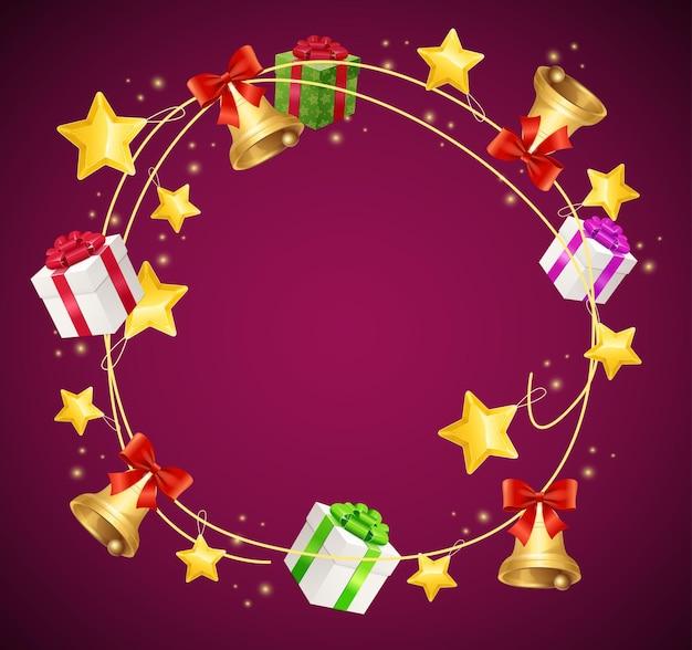 Fondo de guirnalda de caja de regalo de navidad.