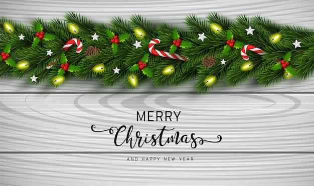 Fondo de guirnalda de navidad y feliz año nuevo