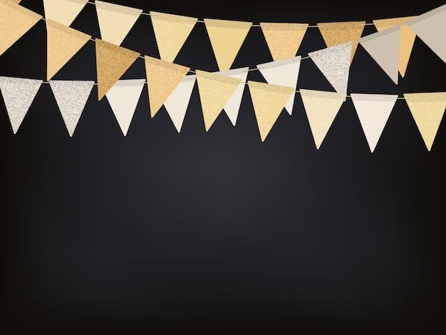 Fondo con guirnaldas de bandera dorada