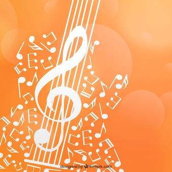 Fondo de guitarra hecha de notas musicales