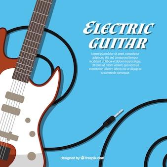 Fondo de guitarras eléctricas en diseño plano