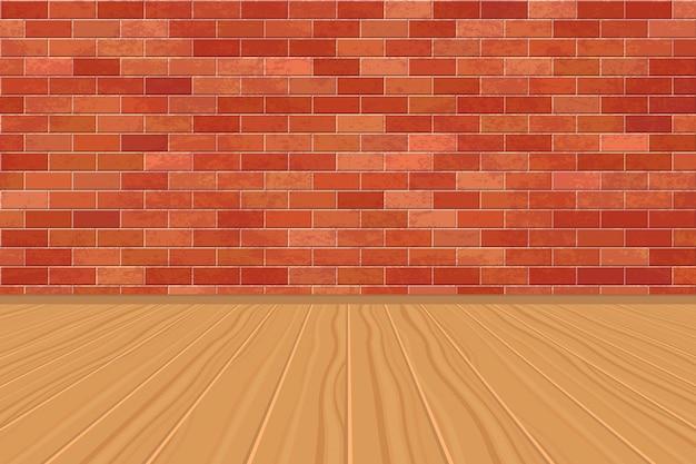 Fondo de habitación vacía con pared de ladrillos y piso de madera