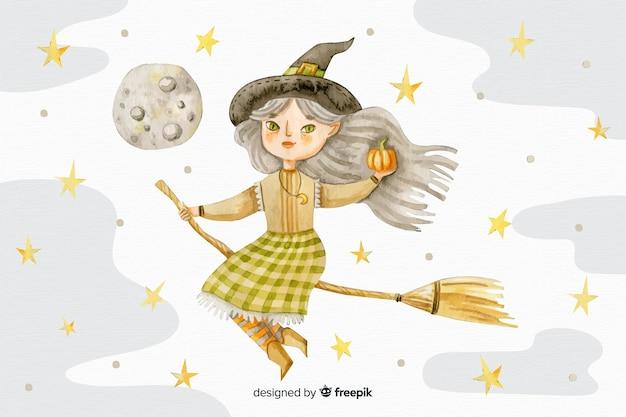 Fondo de halloween acuarela con bruja en escoba