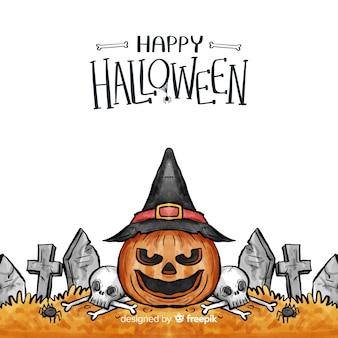 Fondo de halloween en acuarela con calabaza y lápidas