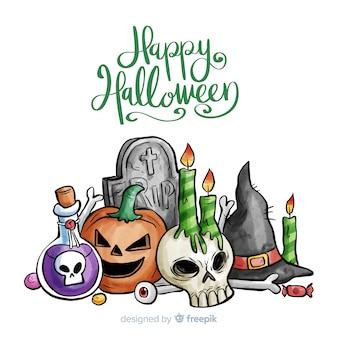 Fondo de halloween en acuarela con elementos de bruja