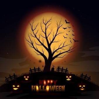 Fondo de halloween con árbol y calabaza
