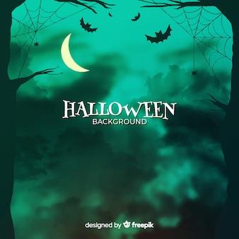 Fondo de halloween con bosque y murciélagos