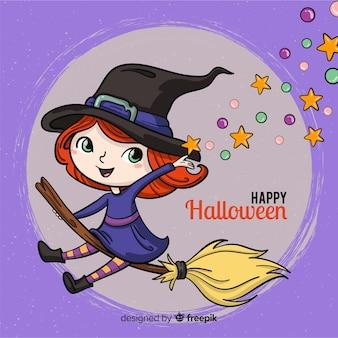 Fondo de halloween con bruja feliz