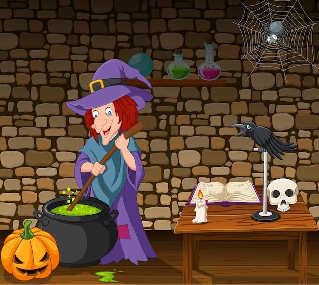 Fondo de halloween con bruja revolviendo poción mágica