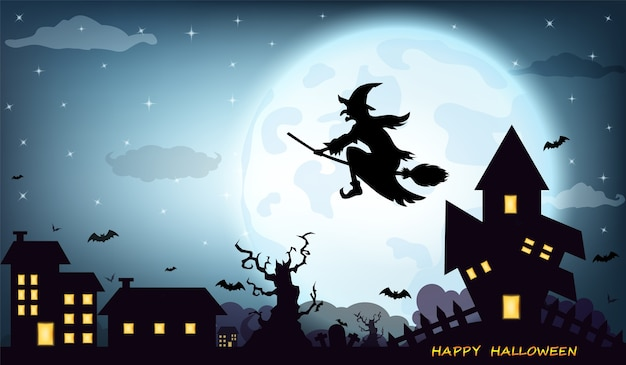 Fondo de halloween con bruja silueta negra luna llena