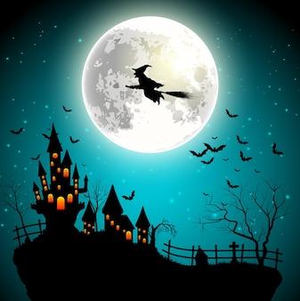 Fondo de halloween con bruja voladora en la luna llena