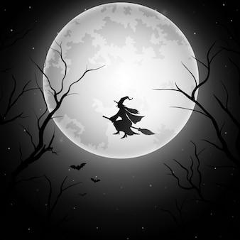 Fondo de halloween con bruja voladora