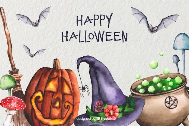 Fondo de halloween brujería acuarela
