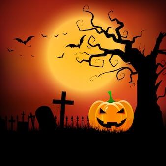 Fondo de halloween con calabaza y árbol espeluznante