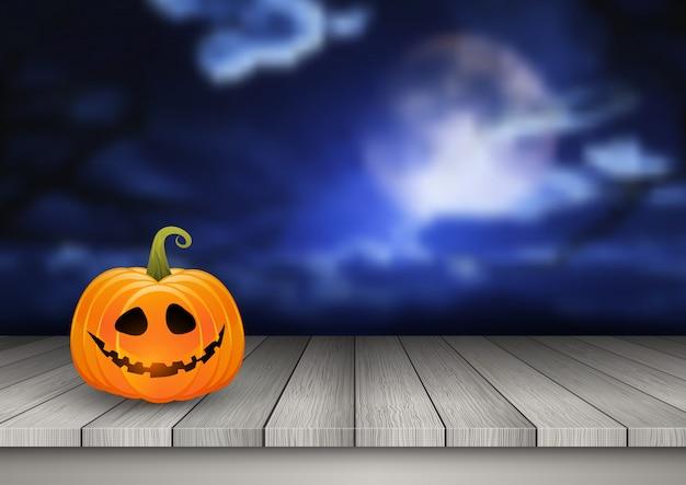 Fondo de halloween con calabaza en una mesa de madera contra un paisaje espeluznante