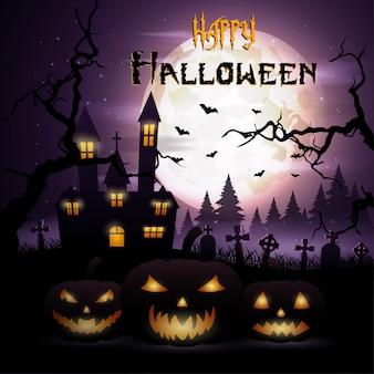 Fondo de halloween con calabazas e iglesia de miedo