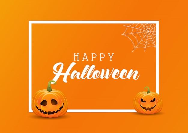 Fondo de halloween con calabazas en un marco blanco