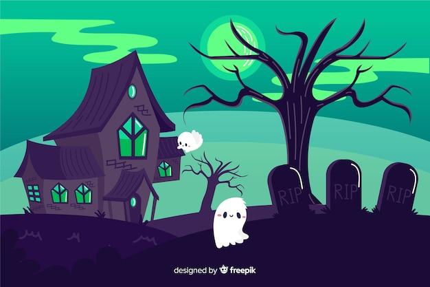 Fondo de halloween de casa abandonada