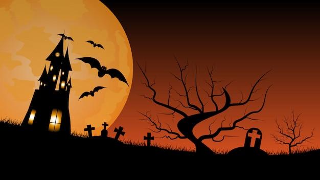 Fondo de halloween con casa embrujada y cementerio.