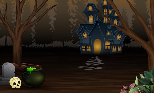Fondo de halloween con casa de miedo en la noche
