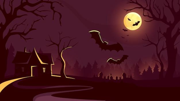 Fondo de halloween con casa y murciélagos volando.