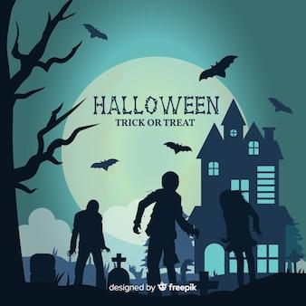 Fondo de halloween con casa, zombies y cementerio