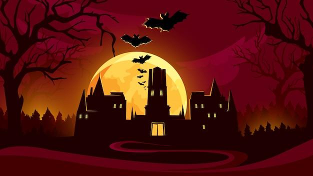 Fondo de halloween con castillo bajo el cielo rojo.
