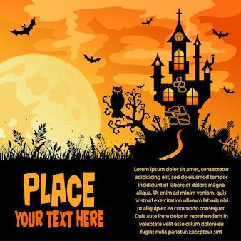 Fondo de halloween con castillo, elemento de diseño, ilustración vectorial