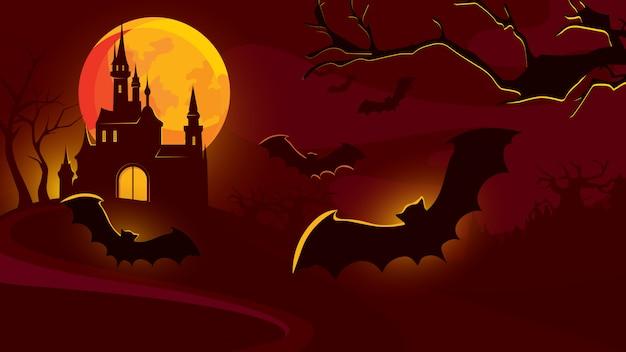 Fondo de halloween con castillo y murciélagos volando.