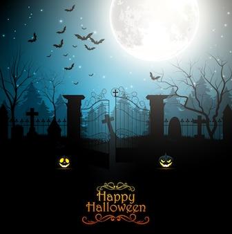 Fondo de halloween con cementerio espeluznante