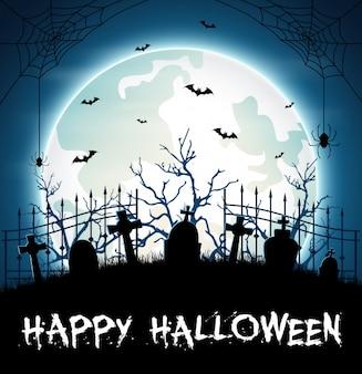 Fondo de halloween con cementerio y murciélagos