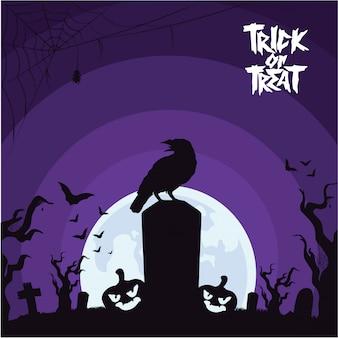 Fondo de halloween con cuervo en el cementerio
