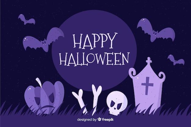 Fondo de halloween dibujado a mano en cementerio