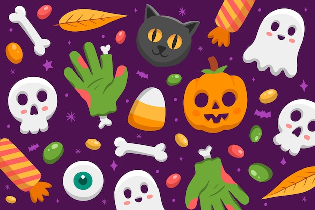 Fondo de halloween dibujado a mano