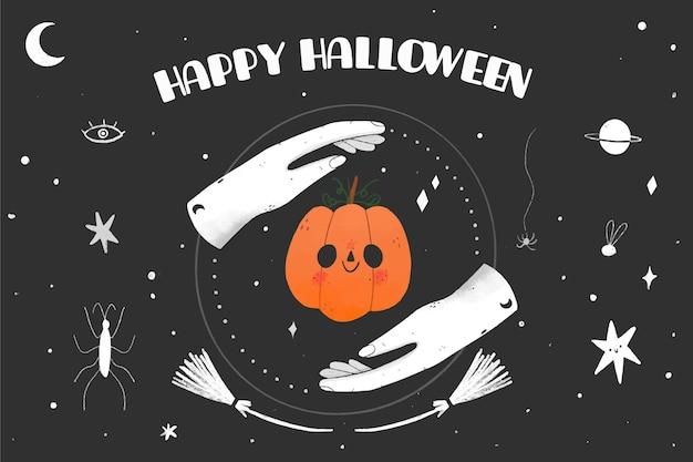 Fondo de halloween de diseño dibujado a mano