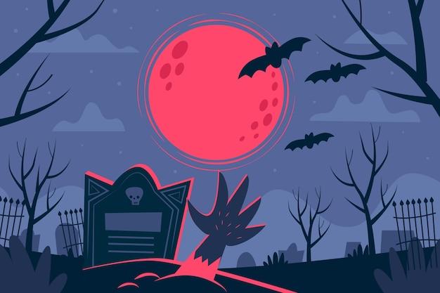 Fondo de halloween de diseño plano con tumba