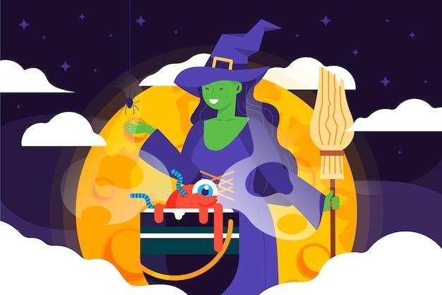 Fondo de halloween de diseño plano