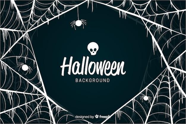 Fondo de halloween de diseño de telaraña de lujo