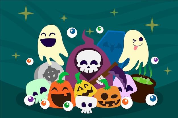 Fondo de halloween divertido dibujado a mano ilustración plana de dibujos animados