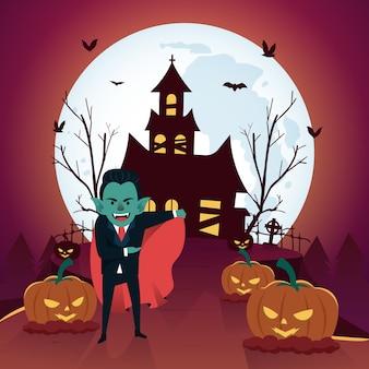 Fondo de halloween con drácula y casa embrujada