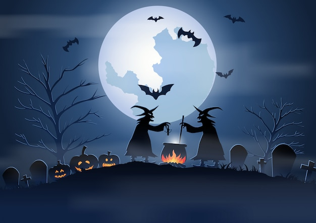 Fondo de halloween con escena del cementerio y las brujas.