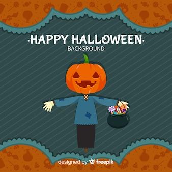 Fondo de halloween con espantapájaros adorable