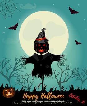 Fondo de halloween con espantapájaros, luna llena, calabaza y murciélagos. plantilla de invitación