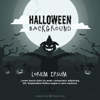 Fondo de halloween con espantapájaros