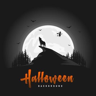 Fondo de halloween espeluznante con lobos